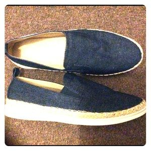 Wanted shoes/flats in dark blue and jean bag combo
